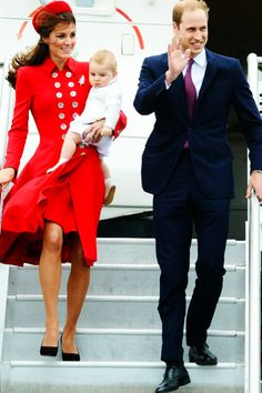 Duke and Duchess of Cambridge arriving in Wellington, New Zealand with Prince George