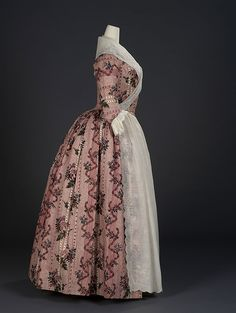 Overdress of a woman's robe à l'anglaise of Indian export chintz  Painted and resist-dyed cotton tabby  Centimetres: 118.5 (width)  circa 1780, England, ROM