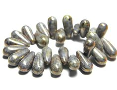 Sale  Czech Glass Blue Grey Picasso  Drop Beads by vintagebeadery
