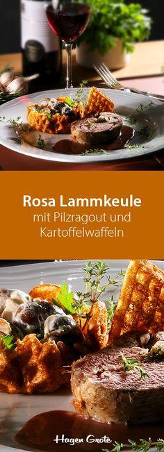 Rosa Lammkeule mit Pilzragout und Kartoffelwaffeln