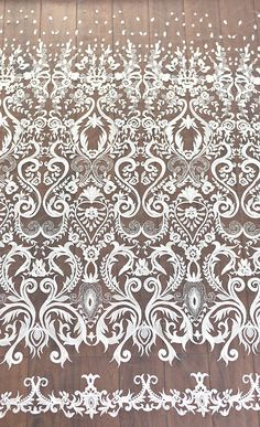 Retro Luxury embroidery Ivory Lace Fabric Embroidered Tulle