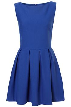 Sleeveless ponte skater dress with skirt pleats and round neck.