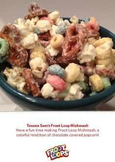 Have a fun time making Frooty Mishmash, a colorful rendition of chocolate covered popcorn!#kidsrecipes #preschool #kidsactivities
