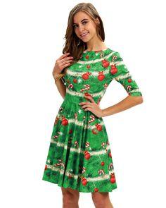 6541e4d71ea Funny Christmas Tree Printed Half Sleeves Green Short Skater Dress
