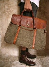 """Vintage Hartmann's Leather and Tweed Travel Bag Large Harris Wool"""