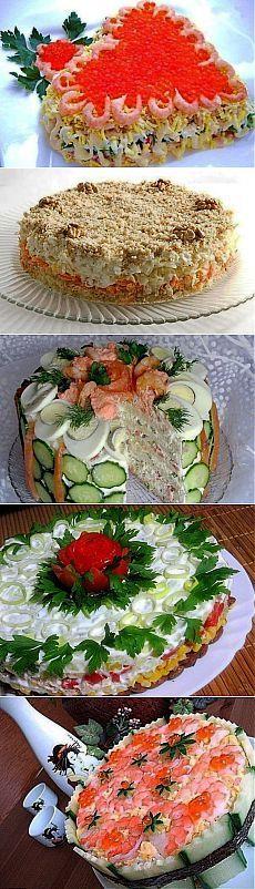 Подборка лучших рецептов салатов-тортов, которые всегда украсят Ваш праздничный стол !!!!.