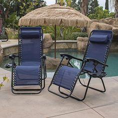 Belleze 2 Pack Zero Gravity Chairs Patio Lounge +Cup Holder/Utility Tray  (Blue)