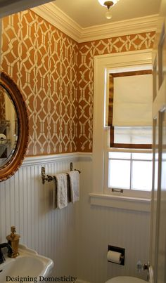 love bead board and wallpaper for a powder room