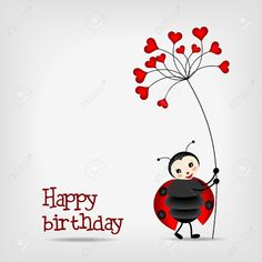Cute Ladybug With Red Flower, happy Birthday Happy Birthday Art, Happy Birthday Images, Happy Birthday Greetings, Birthday Messages, Birthday Pictures, Birthday Greeting Cards, Flower Birthday Cards, Birthday Cards For Women, Funny Valentine