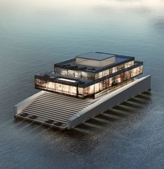 """Glass, by French Architect Lujac Desautel. """"A Yacht That Doesn't Get in the Way of Your Ocean Views"""" Yacht Design, Boat Design, Floating Architecture, Architecture Design, Houseboat Living, Casas Containers, Water House, Floating House, Super Yachts"""