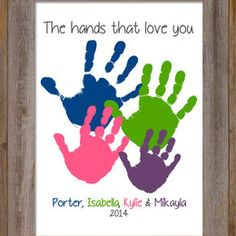 This personalized and custom inch handprint artwork features handprints layered around each other. Family Crafts, Baby Crafts, Toddler Crafts, Fun Crafts, Crafts For Kids, Valentine Crafts, Holiday Crafts, Valentines, Painting For Kids
