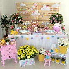 Mantel y faldón mesa Rainbow Birthday, Baby Birthday, Birthday Parties, Baby Shower Games, Baby Shower Parties, Baby Boy Shower, Cloud Party, Sunshine Birthday, Baby Party