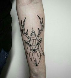 Geometric Deer Tattoo On Left Forearm Retro Tattoos, Mini Tattoos, Small Tattoos, Tattoos For Guys, Tattoos For Women, Forearm Tattoos, Body Art Tattoos, Sleeve Tattoos, Tatoos