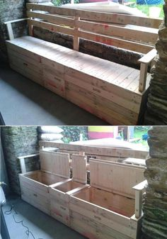 inexpensive bench that has storage, pallets and old shipping crates.