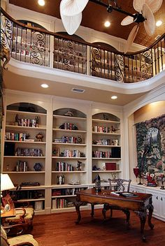 2-Story Library. With access from second story.