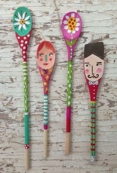 Folk Art Spoon Dolls, wooden spoon doll