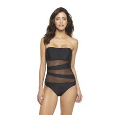 Mesh Inset Microgoddess Bandeau One-Piece Swimsuit in Black by Mossimo, $39.99, www.target.com.
