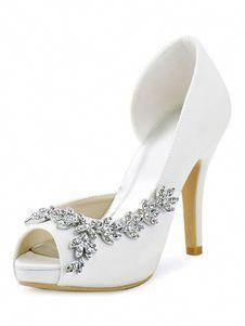 a315f6861 Ivory Wedding Shoes High Heel Sandals Satin Peep Toe Rhinestones Slip On Bridal  Pumps  weddingshoes