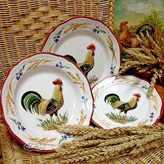"Купить Сервиз столовый "" Колоски "" - ярко-красный, сервиз, тарелка, тарелки Painted Plates, Plates On Wall, Hand Painted, Chicken Kitchen Decor, Rooster Kitchen, Red Rooster, Tea Set, Tablescapes, Dinnerware"
