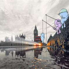 """Lucas Levitan, London-based Brazilian illustrator, had created an on-going project """"Photo Invasion"""". He took photos from the interesting people, Funny Cartoon Characters, Funny Cartoons, Studio Logo, Photo Illustration, Graphic Design Illustration, Photography Illustration, Lucas Levitan, Water Drawing, Marvel"""