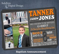 LDS Baptism Invitation or Announcement for Boys, Customized 5x7 Printable Digital File