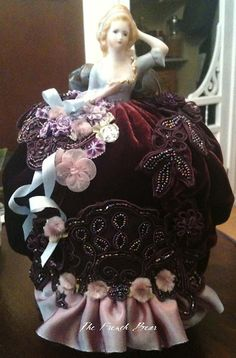 Gorgeous pincushion doll by Margaret of The French Bear