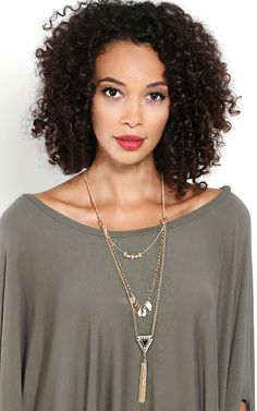 Shine bright in this beautiful tri layered necklace. | MakeMeChic.com