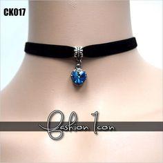 Blue Crystal Heart Gothic Goth Lolita Burlesque Vintage Velvet Choker Necklace | eBay