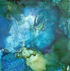 """The Waters: Their creatures by Lou Jordan Mixed Media ~ 6"""" x 6"""""""
