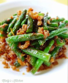Minty's Kitchen : Fried Green Beans with Minced Pork & XO Sauce [乾煸四季豆] Recipes With Xo Sauce, Pork Recipes, Asian Recipes, Cooking Recipes, Chinese Recipes, Asian Foods, Recipies, Chinese Green Beans, Pork And Green Beans