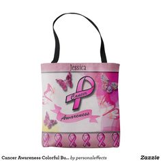 Cancer Awareness Colorful Butterflies & Ribbons - tote bag, tote, cancer, awareness, ribbon, pink ribbon, gift, gifts, gift ideas, fashion,