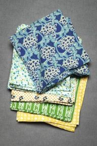 Noon to night napkins - love the summery colors, and the variety of patterns...
