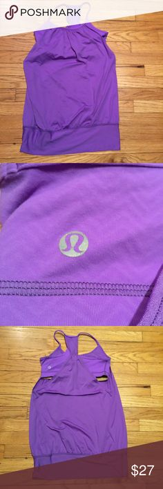 Lululemon purple tank top with sports bra - sz 4 Lululemon purple tank top with sports bra - sz 4. Armpit to armpit - 15 inches. Length - 25 inches. Excellent condition. lululemon athletica Tops Tank Tops