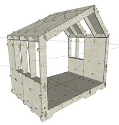 wikihouse open source cnc tiny home design. Can be assembled without tools Log Cabin Sheds, Tiny Log Cabins, Cabin Homes, Tiny House Loft, Tiny House Design, Plywood Furniture, Furniture Design, Low Cost Housing, Affordable Housing
