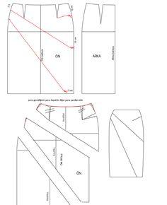 model uygulamalı etek işlem basamakları   1. Sol yan çizgi üzerinde kalça ve bel arasındaki mesafe 3'e bölünür.   2. sağ yan çizgi üzerinde...
