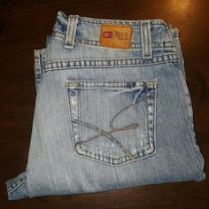 Friday sale BKE Jeans by Buckle.  Wendy These are Silver Jeans.  The style is Wendy.  They're size 28 with a length of about 30. These are work jeans that have a lot of life in them.  They have a run going across the left knee and factory distressed pockets and such....reason for the price They're expensive and quality made jeans at an affordable Price. BKE Jeans Boot Cut