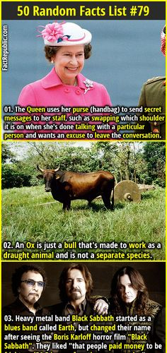 1. The Queen uses her purse (handbag) to send secret messages to her staff, such as swapping which shoulder it is on when she's done talking with a particular person and wants an excuse to leave the conversation. 2. An Ox is just a bull that's made to work as a draught animal and is not a separate species.