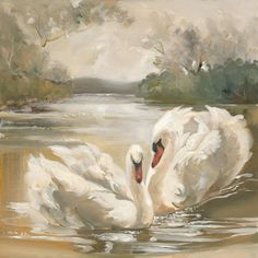Forever by Your Side by Jeanne Bonine Swan Painting, Painting & Drawing, Bird Drawings, Art Drawings Sketches, Folk Art Flowers, Guache, Bird Pictures, Animal Paintings, Bird Art