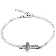 Pulsera de plata con cruz con pequeñas circonitas muy brillantes.Incluye cadena extensora.Todos los elementos de la pulsera son de Plata de Ley 925.