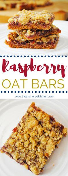 Raspberry Oat Bars - The Anchored Kitchen #dessert #bars #raspberry #preserves #oatmeal