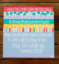 1 Samuel 12728 New Baby Canvas by KanvasByKatie on Etsy, $60.00