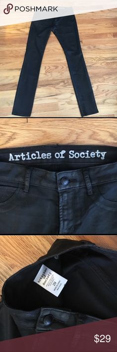 """Articles of Society Coated Black Skinny Jeans Black wax coated Articles of Society skinny jeans. Size 29. 31"""" inseam, 9"""" rise. Excellent condition. From a non-smoking home. Articles Of Society Jeans Skinny"""