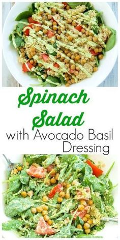 Spinach Salad with Quinoa, Crispy Chickpeas, Tomato, and Avocado Basil Dressing.  A hearty, filling salad that can be a meal in itself!  Easy healthy vegan recipe with the best sauce / dressing ever!!