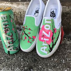"Custom ""Arizona Tea"" Vans for Sale in Williamsport, PA - OfferUp Custom Slip On Vans, Custom Vans Shoes, Custom Painted Shoes, Painted Vans, Painted Sneakers, Hand Painted, Vans Sneakers, Converse, Shoes"