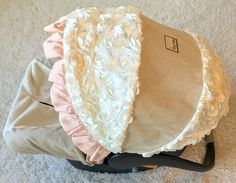 Linen, Ivory, and Blush Infant Car Seat Cover