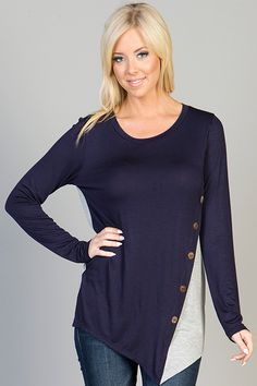 Navy and gray asymmetrical button down top perfect for fall. S-M-L $27 shipped  Purchase here https://www.facebook.com/photo.php?fbid=10153508989378686&set=pcb.947499148642695&type=1&theater