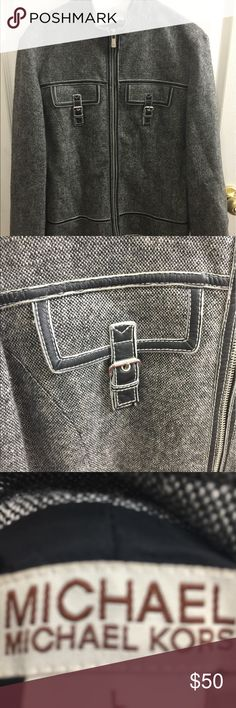 Michael kors jacket This is a Michael Kors Jacket that is gray and black and it is in great condition and has only been worn once Michael Kors Jackets & Coats