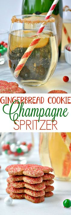 This Gingerbread Cookie Champagne Spritzer is a fun and festive Christmas cocktail — perfect for a cookie exchange party, for a happy hour with the girls, or for any other holiday gathering!