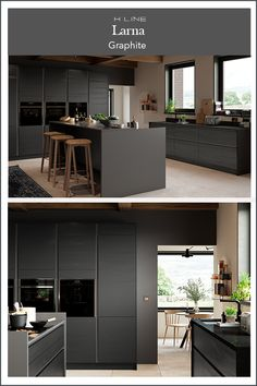 Modern handleless kitchen design. Opt for one colour to create modern sleek design that is bold. We love this dark grey kitchen and large kitchen island with a bank of tall housing for the kitchen appliances. Masterclass Kitchens distribute kitchens across to independent retailers across England, Wales and Scotland