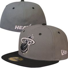 big sale dc9d2 5e28c Miami Heat New Era NBA 59Fifty Fitted Hat (Gray Black)